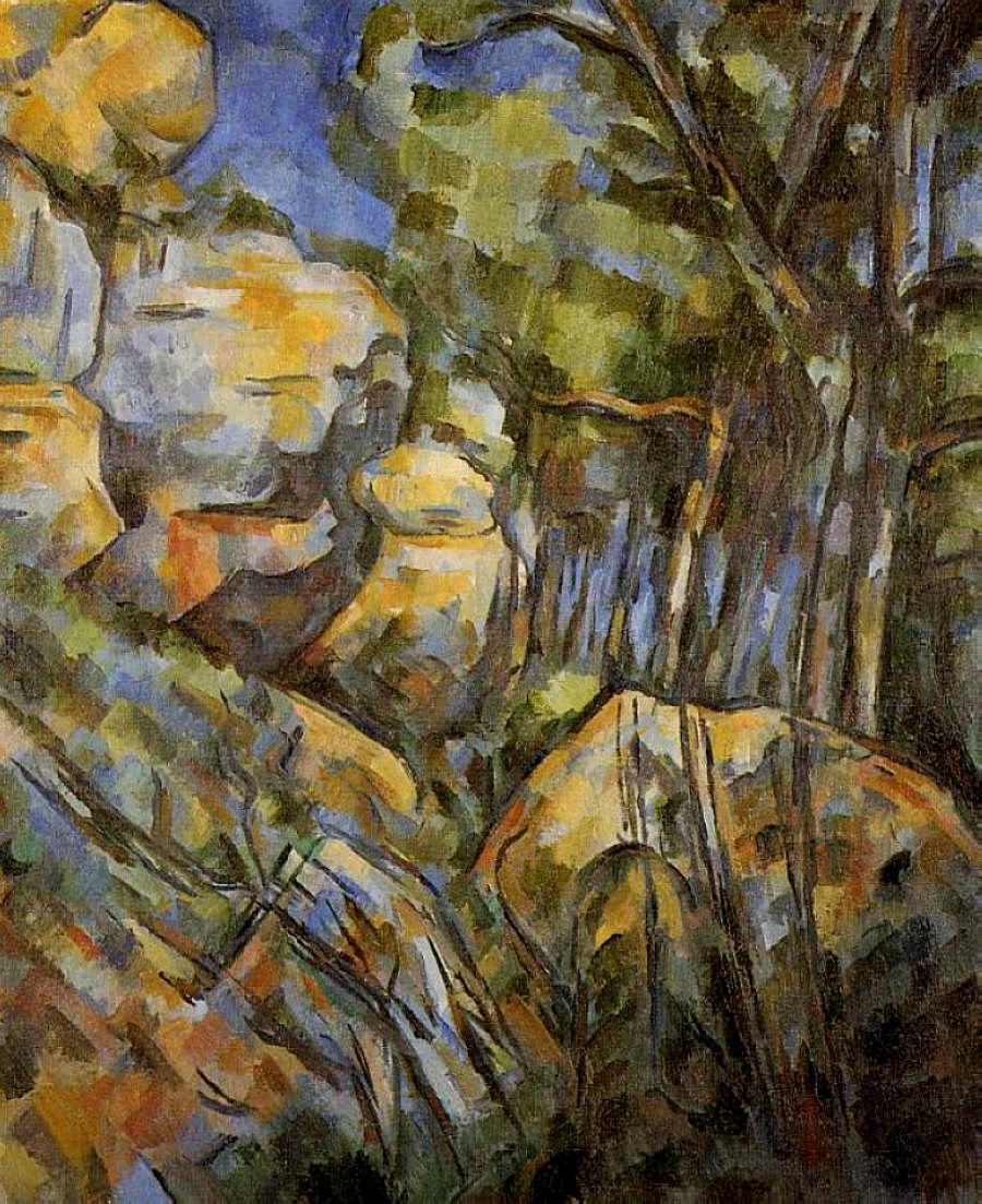Cezanne rocks near the caves below the chateau noir 1904 for Watercolor painting classes near me