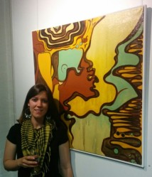 Carla Murray with her painting Wimmerascape 1