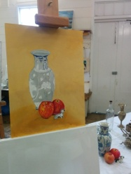 Leigh's oil painting in progress