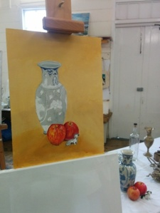 Leigh's oil painting in progress, 2014