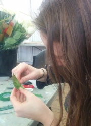 Rach creating a rose corsage