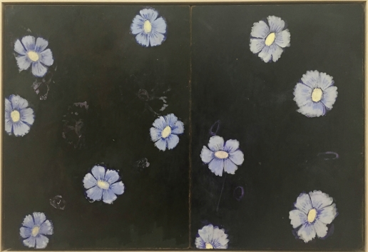 KATE DAW Blue Flowers (when we slept in the studio you gave me some good ideas) 2015 oil paint on found blackboard 41.5 x 60.5 cm (framed) Image courtesy the artist and Sarah Scout Presents