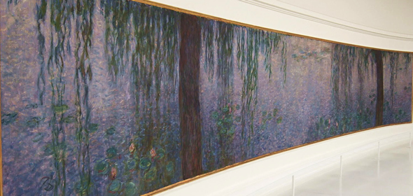 tree trunks Monet water lilies